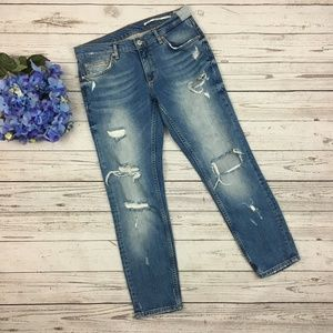Zara Woman Distressed Relaxed Fit Jeans
